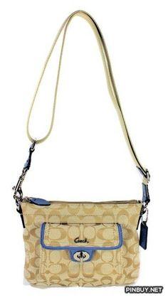 Coach Signature Pocket Swingpack Crossbody Bag, Style 45026 Light Khaki- Chambray - Cross Body - Bags and Purses