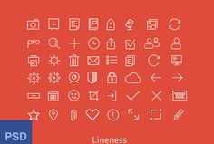 Free Flat Outline Icons Set PSD