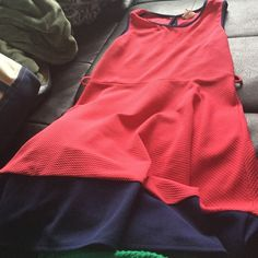 Pink and navy blue sleeveless dress size L Beautiful coloring pink and navy dress! Belt loops but missing belt! Any thin belt would easily fit though! Also some color fading under arms area but not very noticeable :) still great condition! Super cute Fashion magazine Dresses
