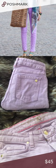 "Kate Spade Lavender Broome Street Skinny Jeans 25 This is a pair of Kate Spade ♠️Brooke Street Skinny jeans. Size 25. 98% cotton 2% elastane. Lavender purple. Waist 26"" rise 7"" inseam 25.5"". Mo flaws. Mint condition. kate spade Jeans Ankle & Cropped"