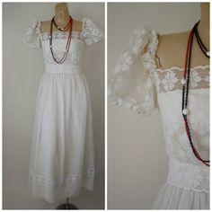 Vintage Ivory Lace Dress-1970's Dress-Vintage Dress-Wedding Dress-Bridal Dress-Ivory Ruffle Dress-Summer Dress Small