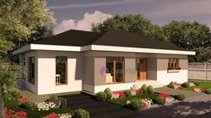 Model 104mp | Case de top Jacuzzi, 4 Bedroom House Plans, One Story Homes, Small House Design, Story House, Interior Design Living Room, Home Projects, Gazebo, Minimalism