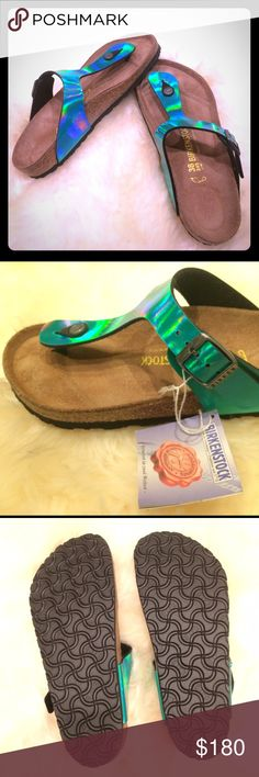 Birko-flor mirror green Gizeh Birkenstock Birko-flor mirror green Gizeh Birkenstocks, size 38, normal. Brand new with tags, have never been worn. Comes with original box. Perfect gift for the holidays. Birkenstock Shoes Sandals
