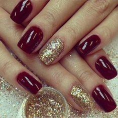 dark red nails with glitter * dark red nails ; dark red nails with design ; dark red nails with glitter ; Red Gel Nails, Dark Nails, Fun Nails, Red Manicure, Acrylic Nails Maroon, Nail Gel, Shellac, Acrylic Gel, Nice Nails
