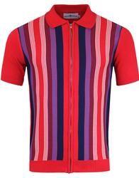 Capitol MADCAP ENGLAND 60s Mod Zip Stripe Polo RED