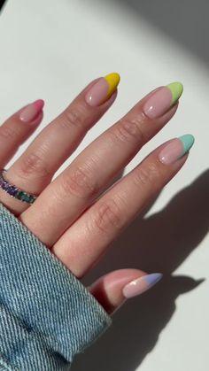 Frensh Nails, May Nails, Gradient Nails, Best Acrylic Nails, Acrylic Spring Nails, Summer Acrylic Nails Designs, Rainbow Nail Art Designs, Colorful Nail Designs, Acylic Nails