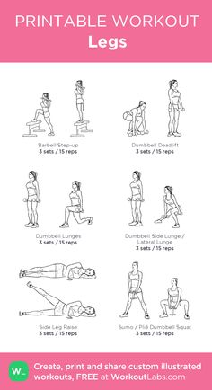 Boriack Legs my custom workout created at Wor Gym Workout Plan For Women, Leg Workout At Home, Leg Day Workouts, At Home Workouts, Dumbbell Workout, Butt Workout, Free Weight Leg Workout, Yoga Routine, Wednesday Workout