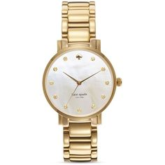 kate spade new york Gramercy Bracelet Watch, 34mm ($215) ❤ liked on Polyvore featuring jewelry, watches, accessories, bracelets, gold, watch bracelet, kate spade watches, bracelet watch, kate spade jewelry and kate spade