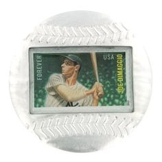 Joe Dimaggio Genuine US Postage Stamp Baseball Paperweight