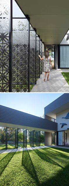 The laser-cut screens featured on this modern house, have a repetitive pattern and provide a unique experience for someone who is entering the courtyard, the heart of the home.