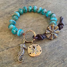 Sea Horse & Sand Dollar Turquoise Knotted by TwoSilverSisters