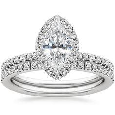 Marquise Cut Waverly Diamond Bridal Set Engagement Ring - 18K White Gold