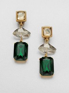 Holiday ready - Make anyone green with envy with this sparkly stunners. These gorgeous drop earrings are going straight to the top of my wishlist!