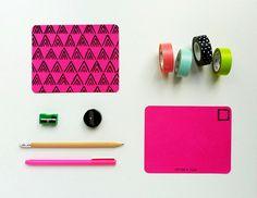 Neon Pink Chevron Postcards / Set of 4
