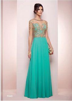 Vestidos en color verde turquesa