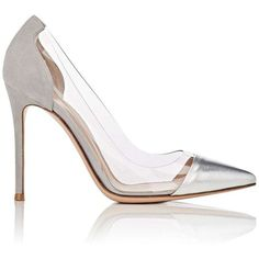Gianvito Rossi Women's Plexi Pumps (47.150 RUB) ❤ liked on Polyvore featuring shoes, pumps, gianvito rossi pumps, pointed-toe pumps, metallic pumps, clear high heel pumps and silver metallic pumps