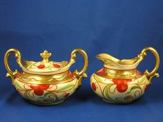 "Tressemann & Vogt (T&V) Limoges Pickard Studios ""Cherries & Gold"" Design Creamer & Sugar Set (c.1903-1905)"