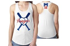 807f36f208 Glitter Baseball Mom Tank Top Racer Back | Heart Bats | Customize Your  Colors