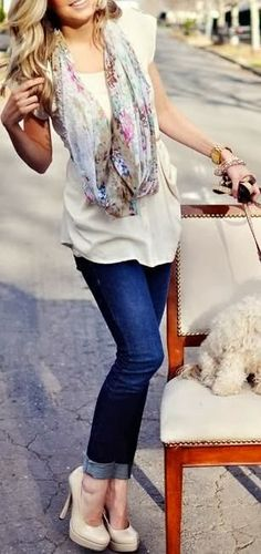 WOmens Fashion Blue Jeans,White shirt with Scarf