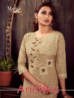Manas Fab Anishka Designer Cotton Printed with Handwork Readymade Kurtis with Pants at Wholesale Rate - Ethnic Export Printed Kurti Designs, Salwar Designs, Kurta Designs Women, Kurti Designs Party Wear, Hand Embroidery Dress, Kurti Embroidery Design, Embroidery Suits, Dress Neck Designs, Designs For Dresses