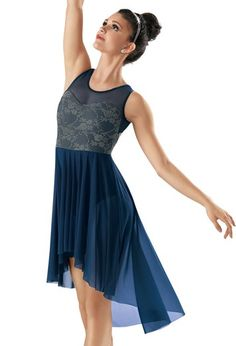 "Blue Floral Bodice with Mesh Detail and Stretch Mesh High-Low Skirt - ""Taking Chances"""