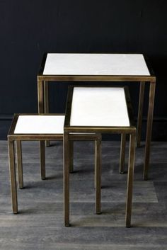 Marble Top, Brass Nest of 3 Tables THIS SET