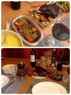 Pernil de cordeiro marinado no vinho do Tio Orlei, alho, sal e pimenta. Cuscuz feito pelo namo, com perfeição! Salada de pimentões amarelos e tomates assados com manhericão da minha hortinha.