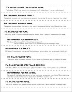 Printable conversation starters to discuss what your family is grateful for. One for each day in November until Thanksgiving - such an easy way to get into the spirit of the holiday! Thanksgiving Activities For Kids, Paleo Thanksgiving, Thanksgiving Traditions, Thanksgiving Crafts, Family Traditions, Grateful, Thankful, Conversation Starters, Activity Days