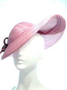 Pink hat with asymmetric wide brim - Bonnie Evelyn Millinery