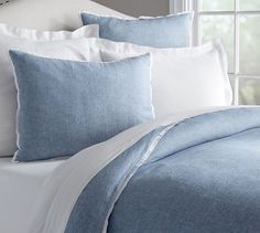Guest Room// Belgian Flax Linen Contrast Flange Duvet , Full/Queen, Midnight/Natural