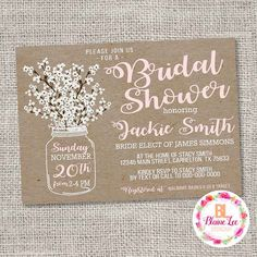 Rustic Babys Breath Mason Jar Vintage Bridal Shower Invitation- Digital File