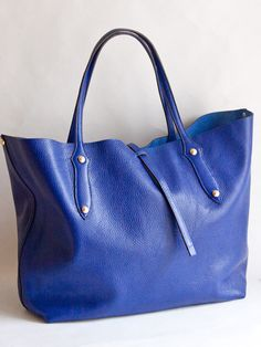 And George royal blue leather tote