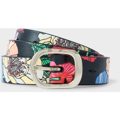Paul Smith Women's 'Wild Garden' Print Calf Leather Belt (€130) ❤ liked on Polyvore featuring accessories, belts, multicolour, paul smith belt, floral belt, multi color belt, colorful belts and gold buckle belt