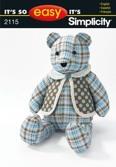 Sewing Stuffed Animals Simplicity Bear and Vest 2115 - PDF – Your Personal Pattern Shop - Teddy Bear Template, Teddy Bear Patterns Free, Teddy Bear Sewing Pattern, Sewing Toys, Sewing Crafts, Sewing Projects, Sewing Stuffed Animals, Stuffed Toys Patterns, Urso Bear