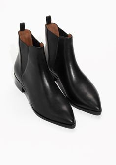 & Other Stories image 2 of Leather Chelsea Boots in Black Leather