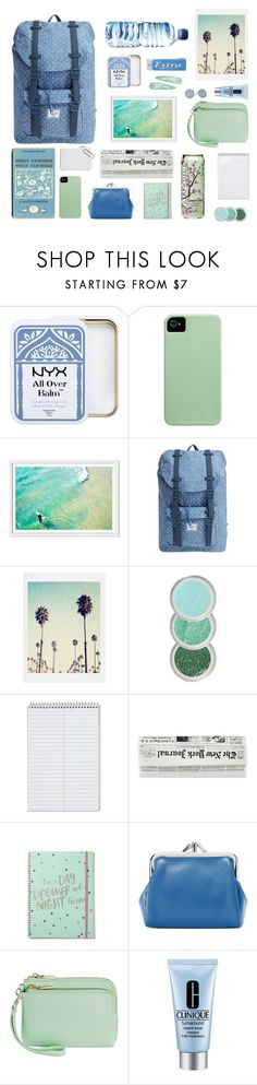 """""""whats in your backpack?"""" by tinkertot ❤ liked on Polyvore featuring Herschel Supply Co., Buxton, Merona, Clinique and Skagen"""