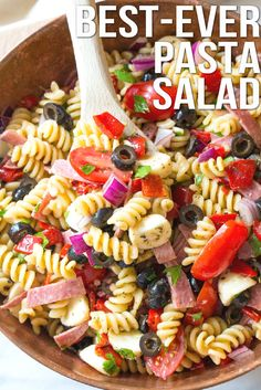 The Best Italian Pasta Salad Recipe, hands down. Your new go-to pasta salad for spring! Italian Pasta Salad One of my favorite family recipes, is a classic Italian pasta salad Lt. Dan& grandma, Mo, used Salad Recipes Healthy Lunch, Salad Recipes Video, Salad Recipes For Dinner, Pasta Recipes, Cooking Recipes, Healthy Snacks, Recipe Pasta, Healthy Dishes, Healthy Eating
