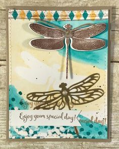 Team swap card by Peggy featuring the Dragonfly Dreams Stamp Set by Stampin' Up! and several techniques including, masking, bleaching, watercoloring and stitching. This was the contest winner!