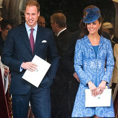 BIRTHDAY BONANZA   A day after feting grandmum, William and Kate step out for Prince Philip's 90th birthday celebration at St. George's Chapel, where the new Duchess recycles a brocade coat she wore to a society wedding back in 2009.