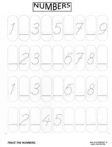 number trace worksheet for kindrgarten