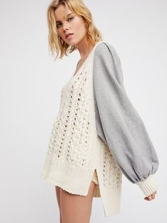 HIdeaway Cable Pullover at Free People Clothing Boutique