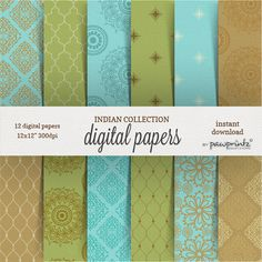 Indian Style Digital Paper Pack in aqua, green and taupe. Indian and mandala designs. Enjoy these digital patterns for your design projects,