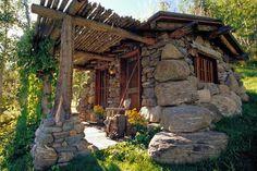 tiny stone cabin