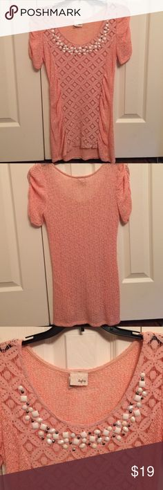 DAYTRIP LACE AND BEADED PEACH TOP NWOT NWOT Perfect condition. No flaws. Adorable peach color with beading and lace. Daytrip Tops