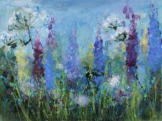 """Delphiniums & Seed Head"" by Ann Oram RSW (mixed media on paper) Lupine Flowers, Art Flowers, Flower Art, Delphiniums, Still Life, Landscape Paintings, Card Ideas, Flora, Mixed Media"
