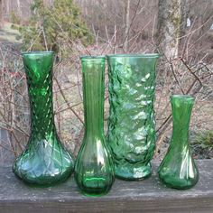 Four Vintage Vases  Green Glass Assortment by SimplySuzula on Etsy