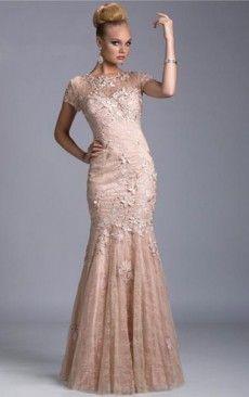 Floor-Length Scoop Short Sleeves Applique Dress