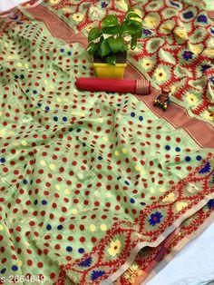 Sarees Trendy Cotton Jamdani Women's Saree  *Fabric* Saree - Cotton Jamdani, Blouse - Cotton Jamdani  *Size* Saree Length - 5.50 Mtr , Blouse Length - 0.80 Mtr  *Color* Pista  *Work* Jamdani This Idol Is Only For Catalog Purpose  *Note* This Flower Vase Is Only For Catalog Purpose  *Sizes Available* Free Size *   Catalog Rating: ★4.1 (173)  Catalog Name: Free Mask Vardaniya Printed Jamdani Cotton Sarees With Polka Dot CatalogID_360388 C74-SC1004 Code: 3701-2664649-