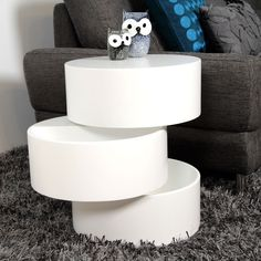{Storage End Table} by Elements - swivel tiers; middle one is for storage! cool.