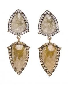 Image of Sylva & Cie 18K Grey and Cognac Diamond Tiered Frame Earrings